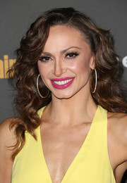 Karina Smirnoff looked very feminine at the Entertainment Weekly pre-Emmy party with her long curly 'do.