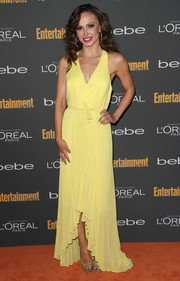 Karina Smirnoff looked bright and feminine in a yellow fishtail dress during the Entertainment Weekly pre-Emmy party.