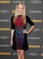 Peyton List chose a colorful print dress with a flared hem for the Entertainment Weekly pre-Emmy party.