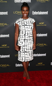 Uzo Aduba looked very polished in a black-and-white grid-print sheath dress at the Entertainment Weekly pre-Emmy party.
