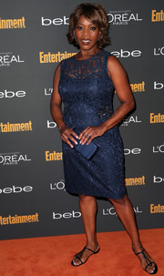 Alfre Woodard chose a classic blue lace cocktail dress for the Entertainment Weekly pre-Emmy party.