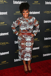 Yvette Nicole Brown chose a long-sleeve, abstract-print dress for the Entertainment Weekly pre-Emmy party.
