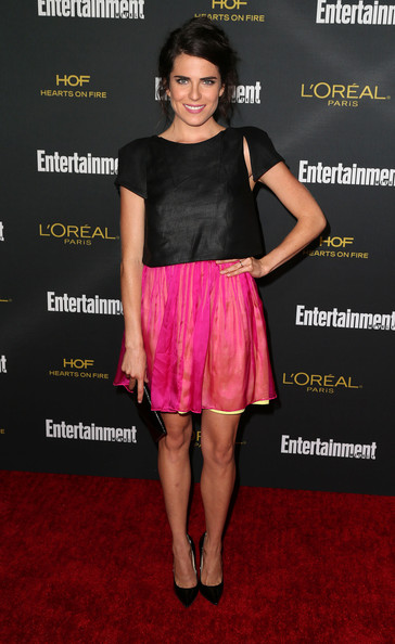 Karla Souza added a lovely pop of color via a hot-pink mini skirt with a yellow underlay.