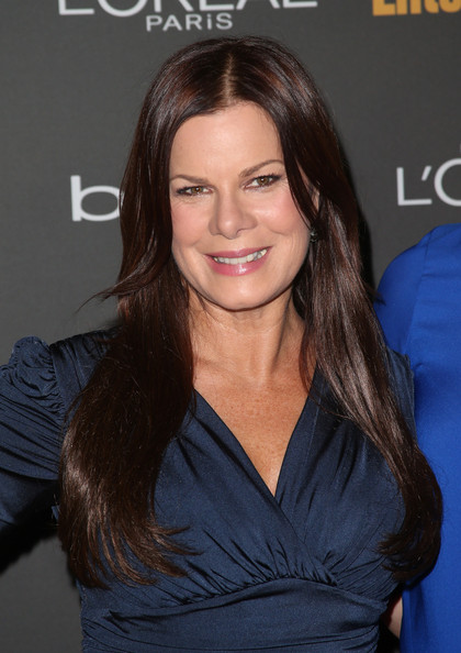 Marcia Gay Harden wore her long hair loose with a center part when she attended the Entertainment Weekly pre-Emmy party.