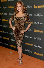 Raquel Welch looked as stunning as ever in a curve-hugging leopard-print dress during the Entertainment Weekly pre-Emmy party.