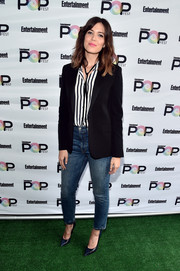 Mandy Moore's black blazer and striped button-down during Entertainment Weekly's PopFest were a classic pairing!