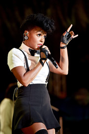 Janelle Monae looked preppy in a white button-down teamed with a black mini skirt while performing at Entertainment Weekly's PopFest.