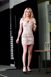 Emma Roberts teamed her cute frock with black ankle-strap pumps by Jimmy Choo.