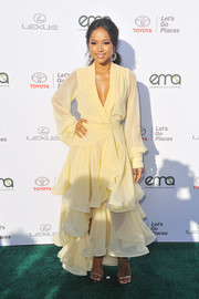 Silver slim-strap heels finished off Karrueche Tran's gorgeous look.