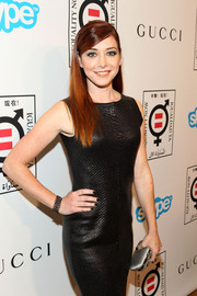 A gray satin clutch added a touch of classic elegance to Alyson Hannigan's edgy dress at the Make Equality Reality event.
