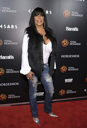 Angela Raiola wore a pair of ripped jeans at a red carpet event.