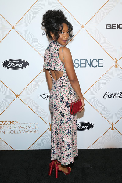 More Pics of Betty Gabriel Print Dress (3 of 4) - Betty Gabriel Lookbook - StyleBistro [clothing,red carpet,shoulder,dress,fashion,carpet,flooring,joint,premiere,fashion design,betty gabriel,arrivals,beverly hills,california,beverly wilshire four seasons hotel,essence 11th annual black women in hollywood awards gala]