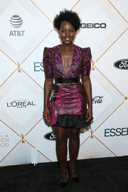 Lupita Nyong'o complemented her dress with a pair of purple velvet pumps by Jimmy Choo.