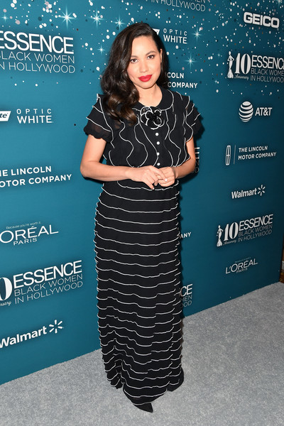 Jurnee Smollett-Bell went ultra feminine in a tiered gown by Yanina Couture at the Essence Black Women in Hollywood Awards.