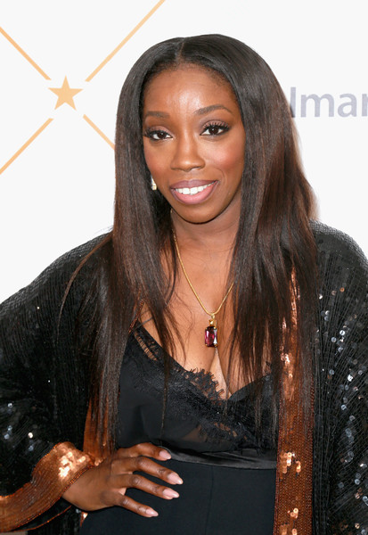 Estelle Layered Cut [red carpet,hair,hairstyle,black hair,long hair,layered hair,lace wig,brown hair,fashion accessory,smile,estelle,beverly hills,california,regent beverly wilshire hotel,essence black women in hollywood oscars luncheon]