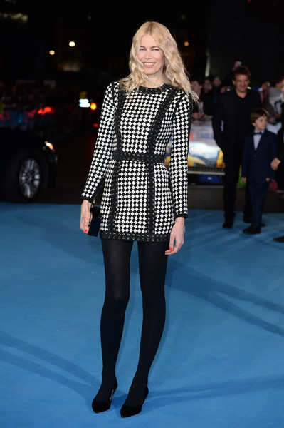 Claudia Schiffer covered up her long legs in a pair of black tights.