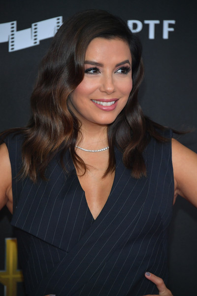 Eva Longoria Long Wavy Cut [eva longoria,hair,hairstyle,beauty,chin,brown hair,long hair,lip,smile,layered hair,black hair,annual hollywood film awards - arrivals,beverly hills,california,the beverly hilton hotel]