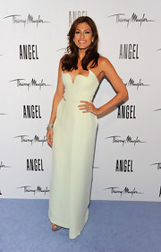 Eva Mendes was a true Mugler angel at the launch of her new campaign, wearing the designer's ivory column gown with a sculptural winged bodice.