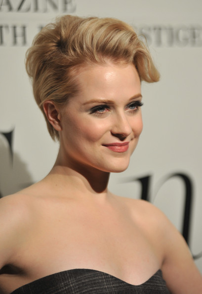 Evan Rachel Wood Layered Razor Cut [hair,eyebrow,blond,beauty,hairstyle,human hair color,chin,forehead,fashion model,eyelash,stefano tonchi,president,joanne crewes,of global p g prestige,solve sundsbo,video installation,park avenue armory,new york,w,in partnership with joanne crewes]