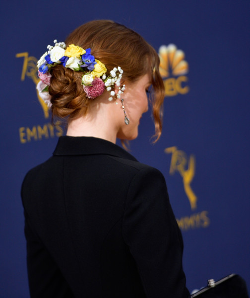 Evan Rachel Wood Twisted Bun [hair,hairstyle,headpiece,hair accessory,fashion,formal wear,bun,chignon,headgear,dress,arrivals,evan rachel wood,emmy awards,70th emmy awards,hair detail,microsoft theater,los angeles,california]