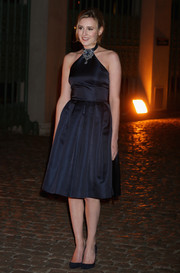 Laura Carmichael chose a prom-worthy navy halter dress with an embellished neckline for the Global Fund event.