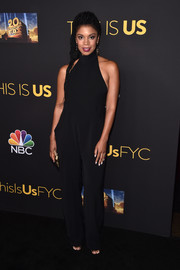 Susan Kelechi Watson kept it low-key in a black halter jumpsuit at the Evening with 'This is Us' event.