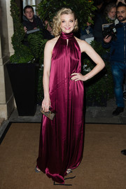 Natalie Dormer looked diva-ish in a raspberry satin halter gown by Tommy Hilfiger at the Evening Standard Film Awards.