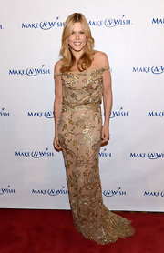 Mary Alice Stephenson chose an off-the-shoulder nude gown with gold floral embellishments for the Make-A-Wish Metro Gala.