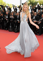 Romee Strijd was a shimmering goddess in a pleated silver gown by Alberta Ferretti at the 2018 Cannes Film Festival opening gala.