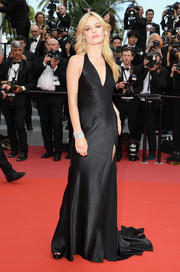 Georgia May Jagger opted for a slinky black halter gown when she attended the Cannes Film Festival opening gala.