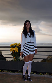 Michelle Wie's black gladiator heels and white knee-high socks were an odd pairing.