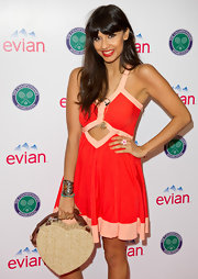 Jameela was a picture of summery sweetness in this cutout sundress in the Evian VIP Suite at Wimbledon.