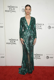 Angela Sarafyan looked dazzling in an emerald-green sequined gown by Elie Saab at the Tribeca Film Festival screening of 'Extremely Wicked, Shockingly Evil and Vile.'