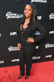 Keshia Knight Pulliam donned a plunging black jumpsuit, exposing her lace bra, for the 'Fate of the Furious' screening.