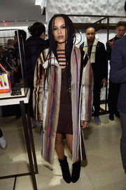 Zoe Kravitz was modern-glam in a multicolored fur coat during the Fendi New York flagship store opening.