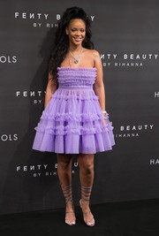 Rihanna went frothy in a strapless lavender ruffle dress by Molly Goddard for the Fenty Beauty launch.