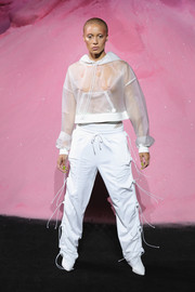 Adwoa Aboah flashed some skin in a sheer white hoodie on the Fenty Puma Spring 2018 runway.