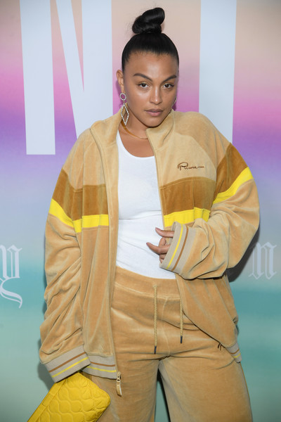 More Pics of Paloma Elsesser Evening Sandals (1 of 2) - Paloma Elsesser Lookbook - StyleBistro [yellow,fashion,fashion design,outerwear,model,forehead,fashion show,jacket,style,performance,summer 2018 collection at park avenue armory,paloma elsesser,arrivals,fenty puma,front row,new york city,rihanna spring]