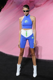 A pair of tricolor bike shorts completed Kaia Gerber's sporty outfit.