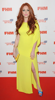 Natasha Hamilton rocked a lemon yellow gown for a cool Grecian-inspired red carpet look.