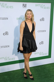 Maria Sharapova went bold in a deep-V, ruffle-hem LBD by David Koma at the LA premiere of 'Battle of the Sexes.'