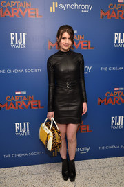 Sami Gayle looked edgy in a fitted black leather dress at the special screening of 'Captain Marvel.'