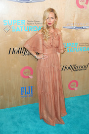 Rachel Zoe looked ultra girly in an antique-rose cold-shoulder maxi dress (from her own label) during OCRF's Super Saturday LA.