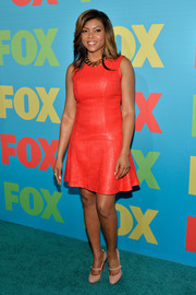 Taraji P. Henson chose a bright orange skater dress for the Fox Programming Presentation.
