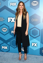 Leighton Meester was casual yet cool in a long black Michael Kors vest layered over a nude blouse at the Fox 2016 Upfront.
