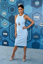 Pia Wurtzbach opted for a trendy pastel-blue cutout dress when she attended the Fox 2016 Upfront.