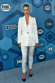 January Jones donned a white Smythe pantsuit featuring a tonal floral motif for the Fox 2016 Upfront.