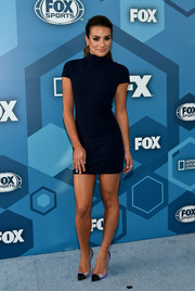 Lea Michele was svelte and sophisticated in a navy turtleneck mini dress by Solace London at the Fox 2016 Upfront.