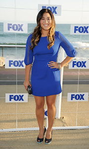 Jenna Ushkowitz stepped out in style at the Fox All-Star party in grey satin peep toe heels with a Swarovski crystal platform.