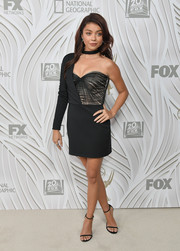 Sarah Hyland went the vampy route in a one-sleeve black bustier dress by Vatanika during Fox's Emmy Awards after-party.